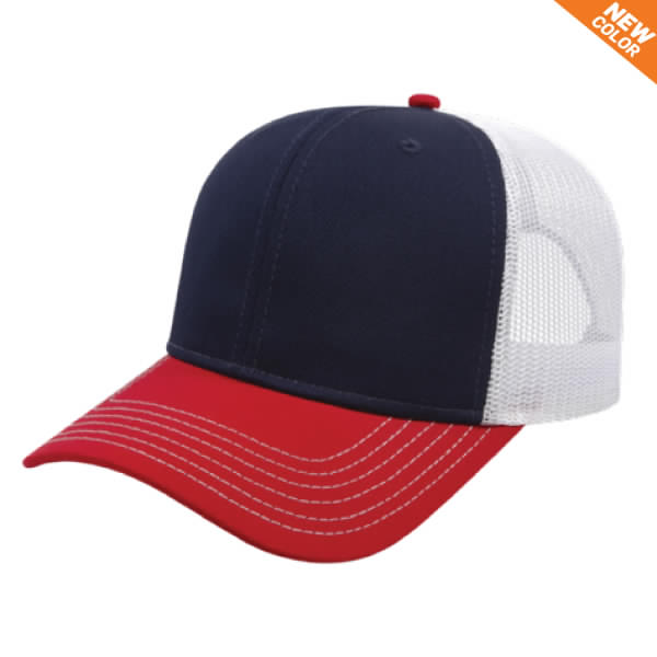 Navy/Red/White Modified Flat Bill with Mesh Back Cap